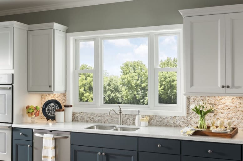 double hung window over kitchen sink