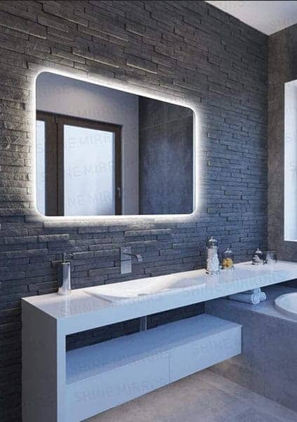 illuminated rectangle backlit bathroom mirror with curved corners